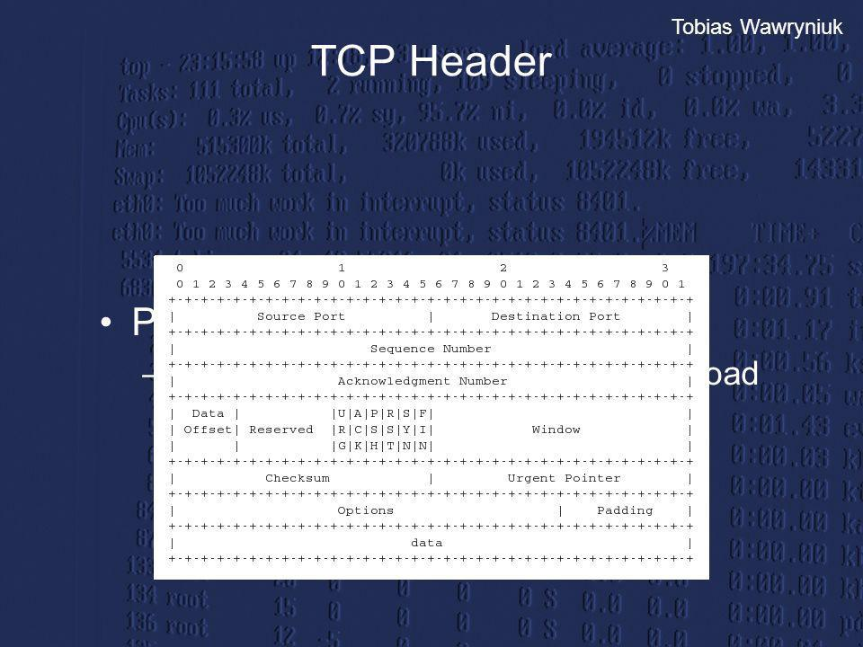 Tobias Wawryniuk TCP Header Prüfsumme: –pseudo header, tcp header und payload