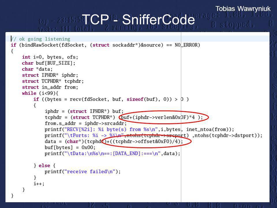 Tobias Wawryniuk TCP - SnifferCode