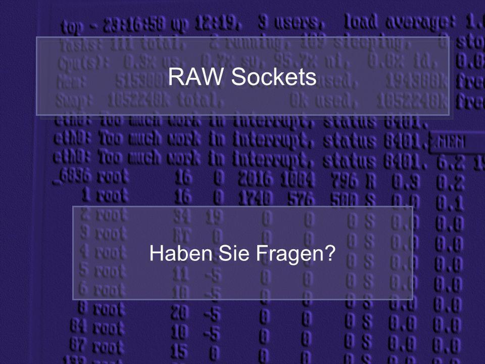 RAW Sockets Haben Sie Fragen?