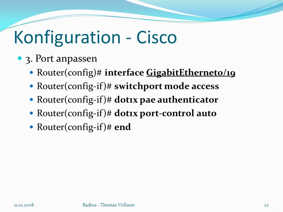 Konfiguration - Cisco 3.