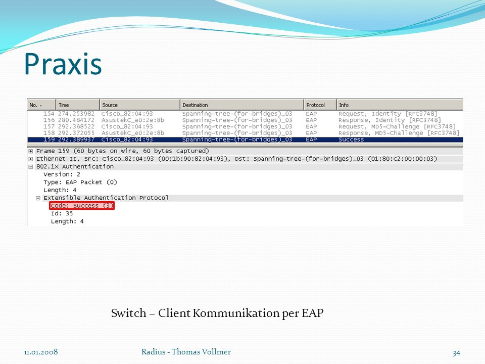Praxis 11.01.200834Radius - Thomas Vollmer Switch – Client Kommunikation per EAP