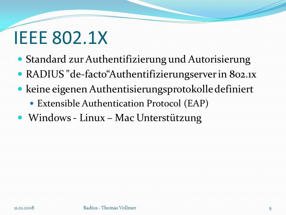 Anmeldeablauf 1.Logindaten angeben 2. Datenaustausch per EAPoL 3.