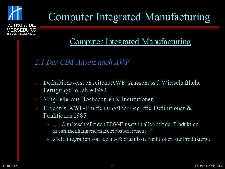 FACHHOCHSCHULE MERSEBURG University of Applied Sciences 18.10.2005Steffen Hein 02INF212 Computer Integrated Manufacturing 2.1 Der CIM-Ansatz nach AWF