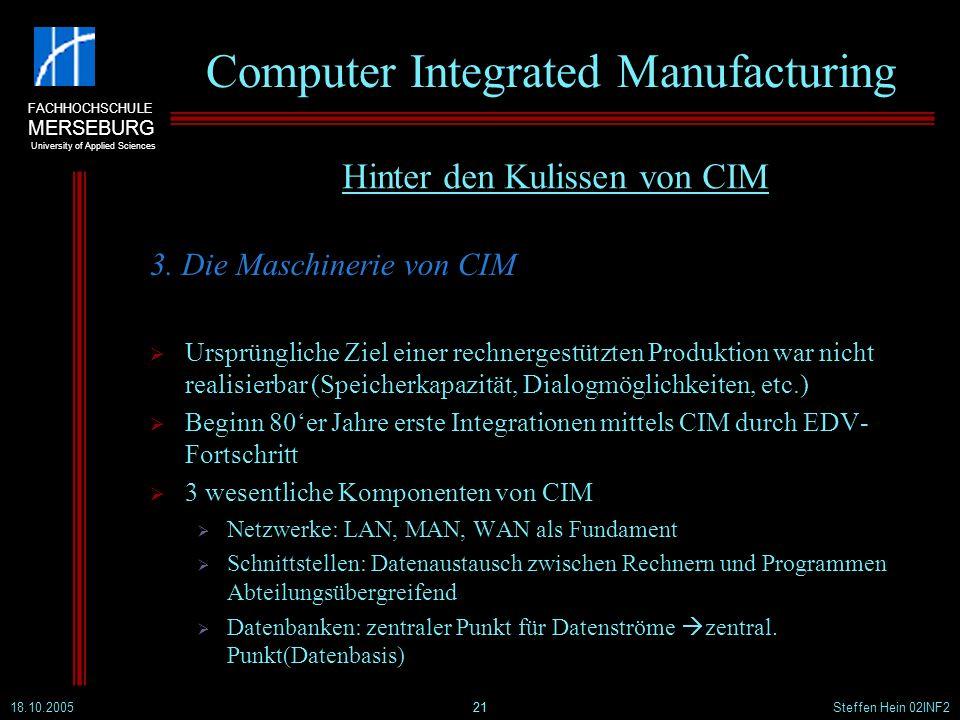 FACHHOCHSCHULE MERSEBURG University of Applied Sciences 18.10.2005Steffen Hein 02INF221 Computer Integrated Manufacturing 3. Die Maschinerie von CIM U