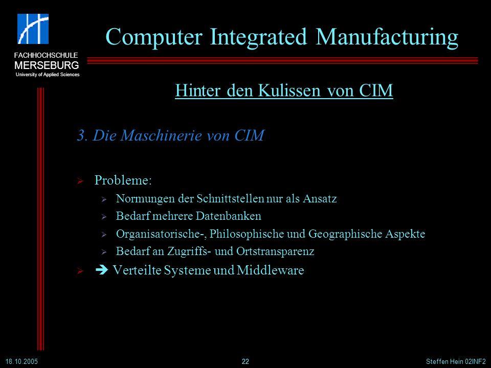 FACHHOCHSCHULE MERSEBURG University of Applied Sciences 18.10.2005Steffen Hein 02INF222 Computer Integrated Manufacturing 3. Die Maschinerie von CIM P