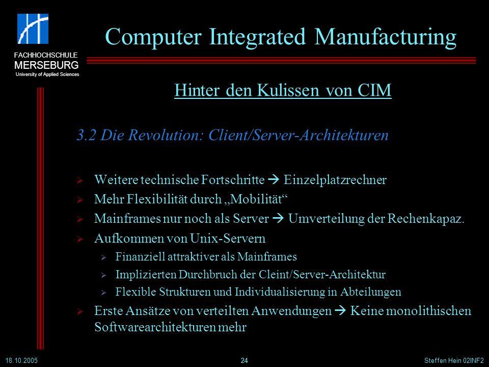 FACHHOCHSCHULE MERSEBURG University of Applied Sciences 18.10.2005Steffen Hein 02INF224 Computer Integrated Manufacturing 3.2 Die Revolution: Client/S