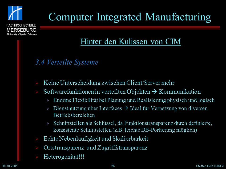FACHHOCHSCHULE MERSEBURG University of Applied Sciences 18.10.2005Steffen Hein 02INF226 Computer Integrated Manufacturing 3.4 Verteilte Systeme Keine