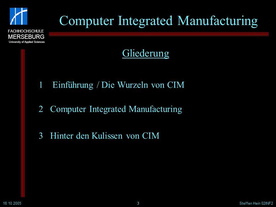 FACHHOCHSCHULE MERSEBURG University of Applied Sciences 18.10.2005Steffen Hein 02INF24 Computer Integrated Manufacturing 1.