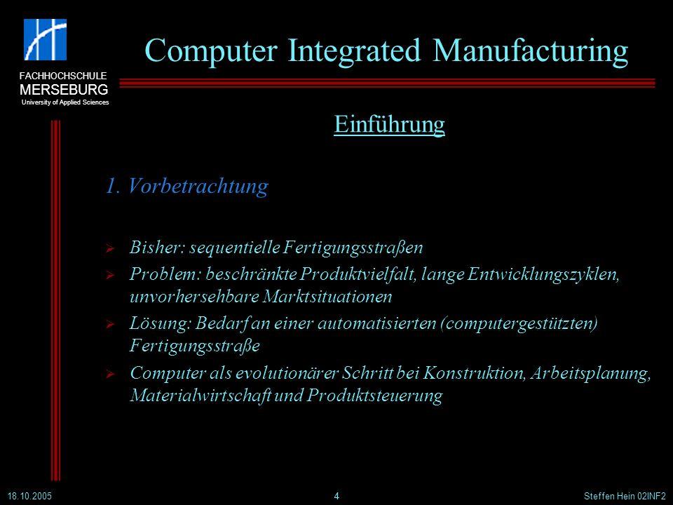 FACHHOCHSCHULE MERSEBURG University of Applied Sciences 18.10.2005Steffen Hein 02INF215 Computer Integrated Manufacturing 2.3 Computer Aided Planning Rechnergestützte Arbeitsplanung (einmalige Planungsmaßnahmen) Erfüllung einer Produktionsaufgabe nach wirtsch.