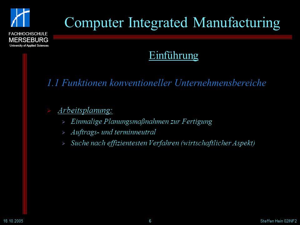 FACHHOCHSCHULE MERSEBURG University of Applied Sciences 18.10.2005Steffen Hein 02INF227 Computer Integrated Manufacturing 3.4 Verteilte Systeme Definition: Ein verteiltes System ist ein System mit räumlich verteilten Bausteinen, die keinen gemeinsamen Speicher benutzen und dezentral administriert werden.