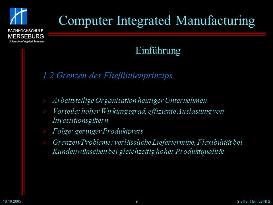 FACHHOCHSCHULE MERSEBURG University of Applied Sciences 18.10.2005Steffen Hein 02INF220 Computer Integrated Manufacturing 2.7 Der CIM-Ansatz nach Scheer 20 Computer Integrated Manufacturing