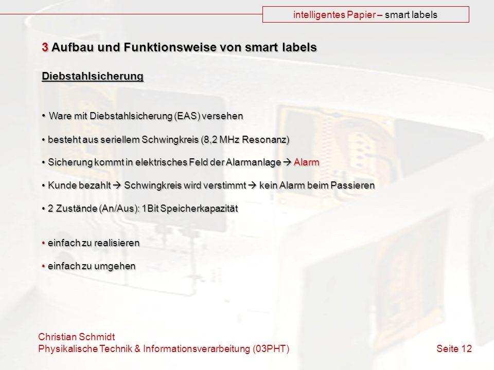 Christian Schmidt Physikalische Technik & Informationsverarbeitung (03PHT) Seite 12 intelligentes Papier – smart labels 3 Aufbau und Funktionsweise vo