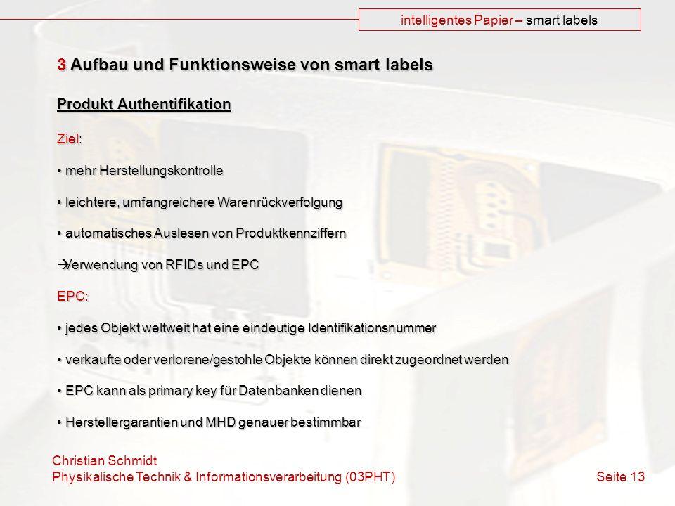 Christian Schmidt Physikalische Technik & Informationsverarbeitung (03PHT) Seite 13 intelligentes Papier – smart labels 3 Aufbau und Funktionsweise vo