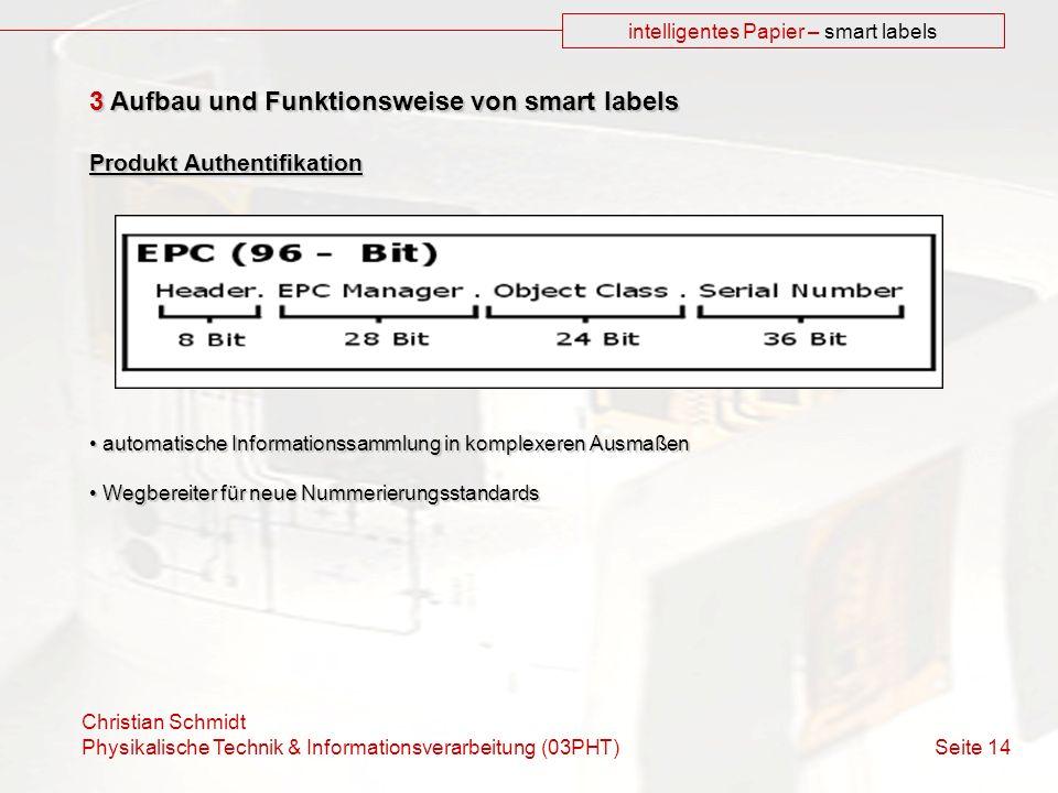 Christian Schmidt Physikalische Technik & Informationsverarbeitung (03PHT) Seite 14 intelligentes Papier – smart labels 3 Aufbau und Funktionsweise vo