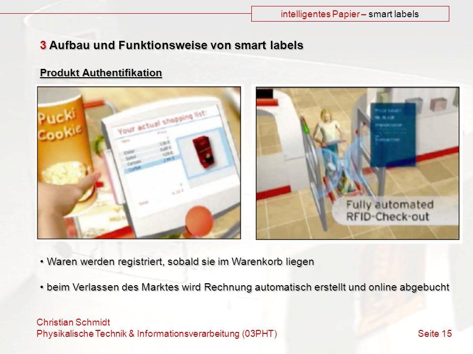 Christian Schmidt Physikalische Technik & Informationsverarbeitung (03PHT) Seite 15 intelligentes Papier – smart labels 3 Aufbau und Funktionsweise vo