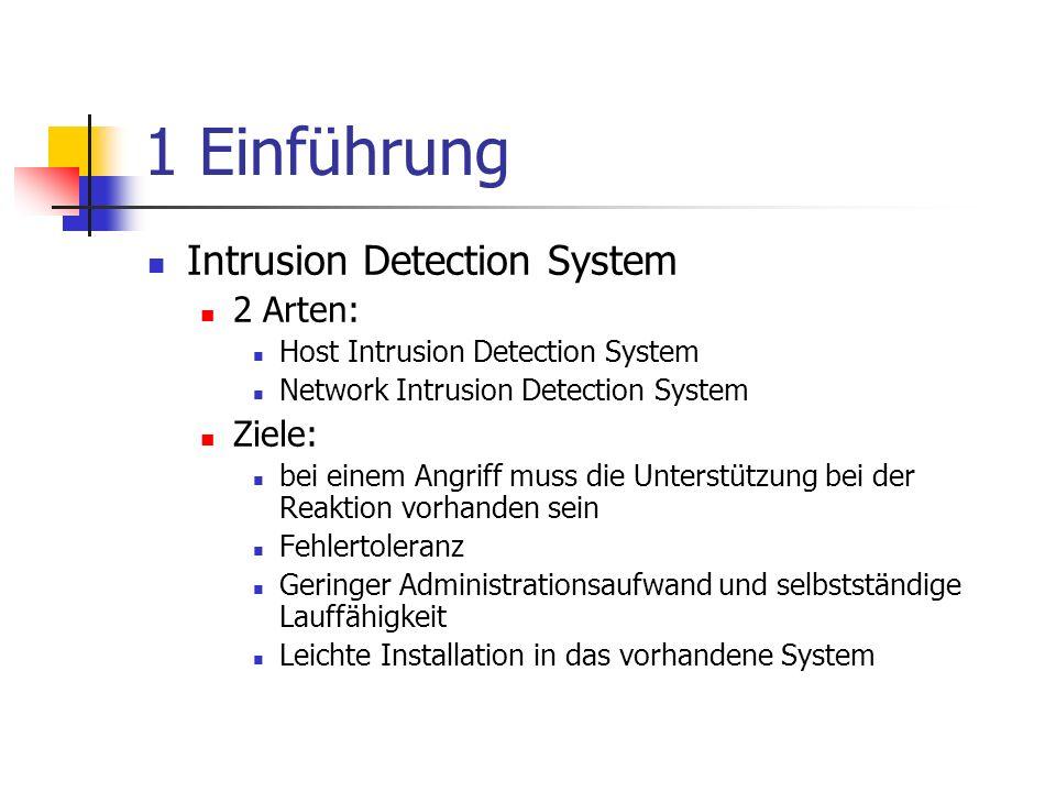 1 Einführung Intrusion Detection System 2 Arten: Host Intrusion Detection System Network Intrusion Detection System Ziele: bei einem Angriff muss die Unterstützung bei der Reaktion vorhanden sein Fehlertoleranz Geringer Administrationsaufwand und selbstständige Lauffähigkeit Leichte Installation in das vorhandene System
