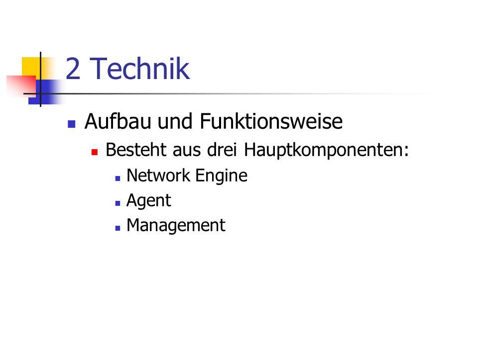 2 Technik Aufbau und Funktionsweise Besteht aus drei Hauptkomponenten: Network Engine Agent Management