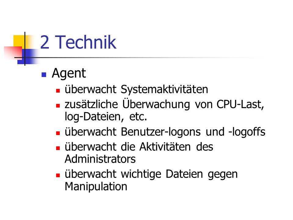 2 Technik Agent überwacht Systemaktivitäten zusätzliche Überwachung von CPU-Last, log-Dateien, etc.