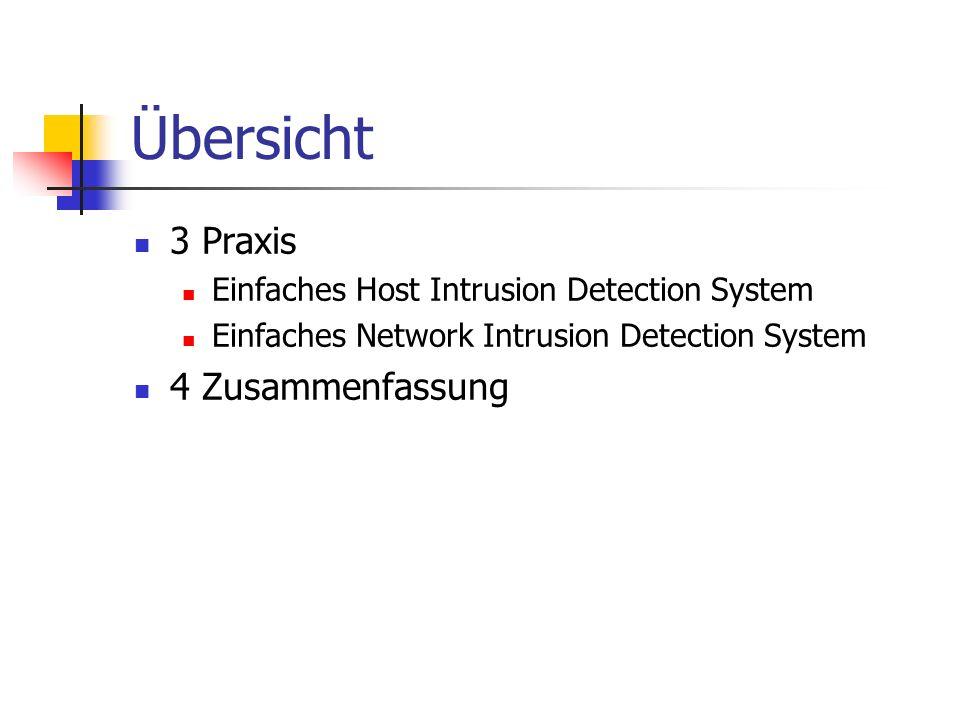 Übersicht 3 Praxis Einfaches Host Intrusion Detection System Einfaches Network Intrusion Detection System 4 Zusammenfassung