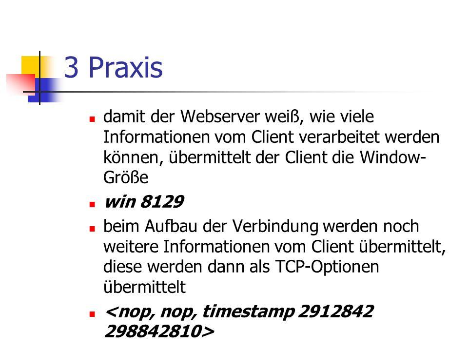 3 Praxis damit der Webserver weiß, wie viele Informationen vom Client verarbeitet werden können, übermittelt der Client die Window- Größe win 8129 beim Aufbau der Verbindung werden noch weitere Informationen vom Client übermittelt, diese werden dann als TCP-Optionen übermittelt