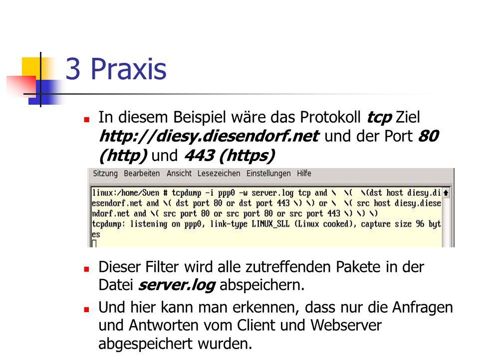 3 Praxis In diesem Beispiel wäre das Protokoll tcp Ziel http://diesy.diesendorf.net und der Port 80 (http) und 443 (https) Dieser Filter wird alle zutreffenden Pakete in der Datei server.log abspeichern.