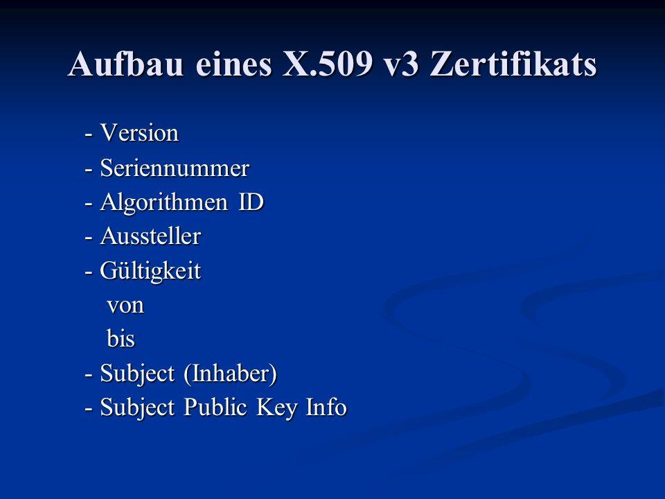 Aufbau eines X.509 v3 Zertifikats - Version - Seriennummer - Algorithmen ID - Aussteller - Gültigkeit vonbis - Subject (Inhaber) - Subject Public Key