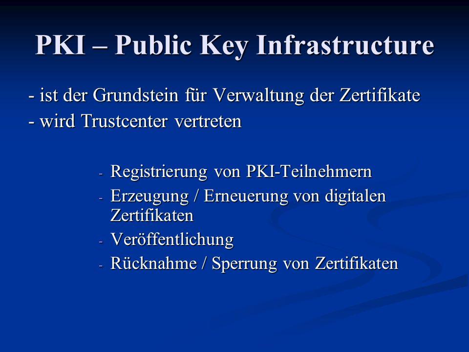 PKI – Public Key Infrastructure - ist der Grundstein für Verwaltung der Zertifikate - wird Trustcenter vertreten - Registrierung von PKI-Teilnehmern - Erzeugung / Erneuerung von digitalen Zertifikaten - Veröffentlichung - Rücknahme / Sperrung von Zertifikaten