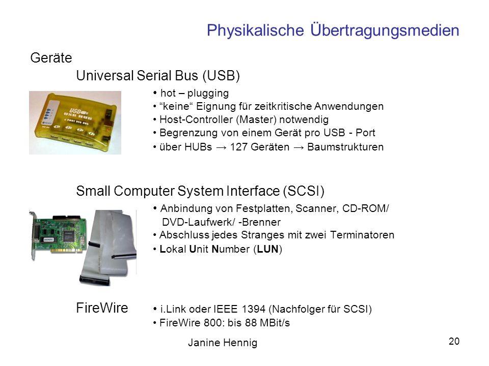 Janine Hennig 20 Physikalische Übertragungsmedien Universal Serial Bus (USB) hot – plugging keine Eignung für zeitkritische Anwendungen Host-Controlle