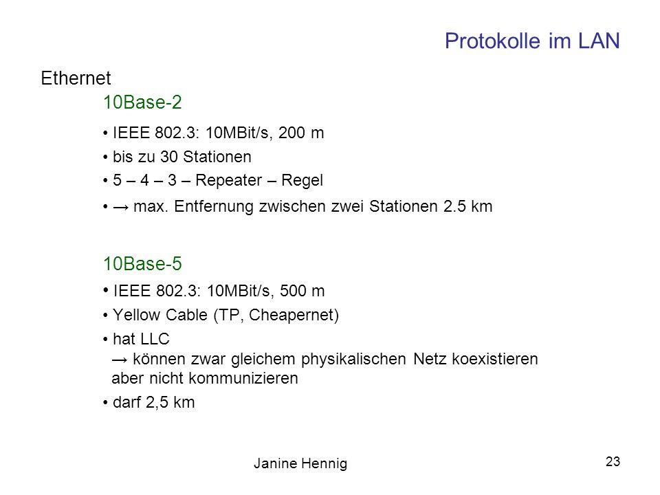 Janine Hennig 23 Protokolle im LAN 10Base-2 IEEE 802.3: 10MBit/s, 200 m bis zu 30 Stationen 5 – 4 – 3 – Repeater – Regel max. Entfernung zwischen zwei