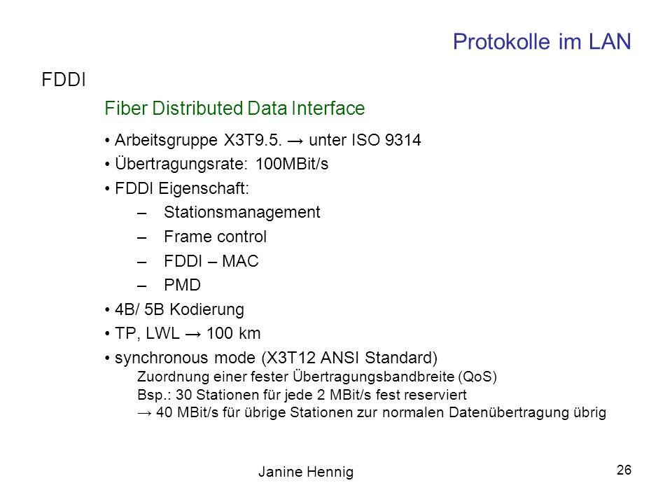 Janine Hennig 26 Protokolle im LAN Fiber Distributed Data Interface Arbeitsgruppe X3T9.5. unter ISO 9314 Übertragungsrate: 100MBit/s FDDI Eigenschaft: