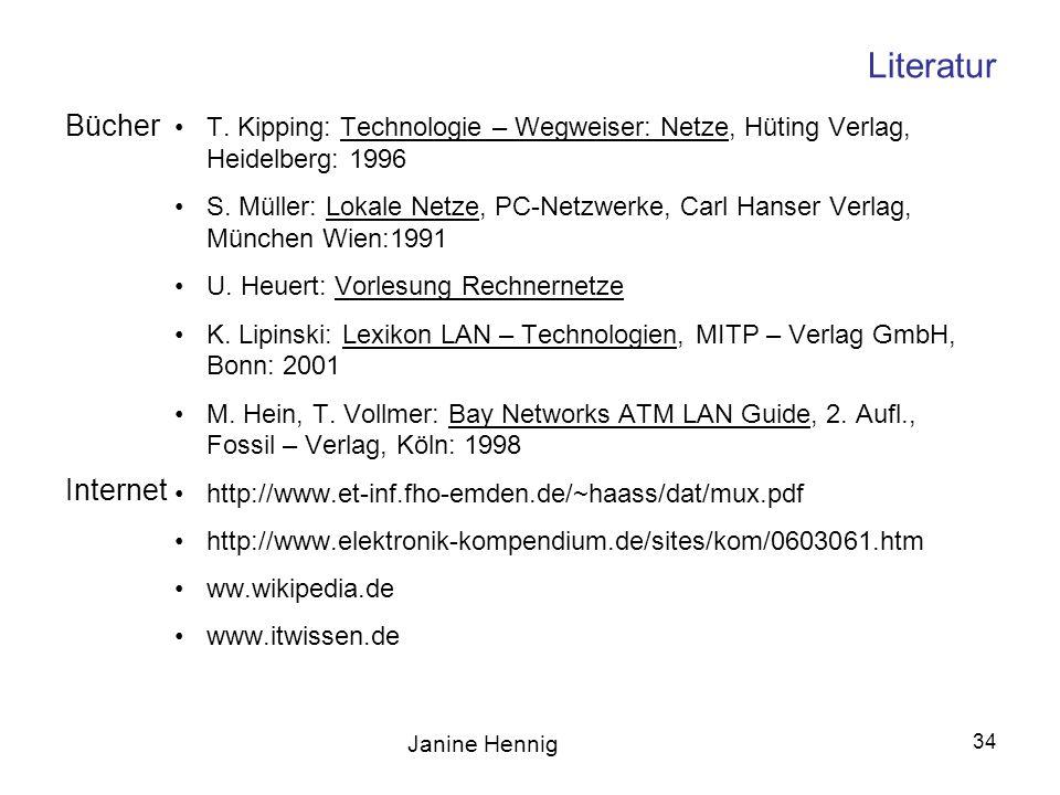 Janine Hennig 34 Literatur T. Kipping: Technologie – Wegweiser: Netze, Hüting Verlag, Heidelberg: 1996 S. Müller: Lokale Netze, PC-Netzwerke, Carl Han