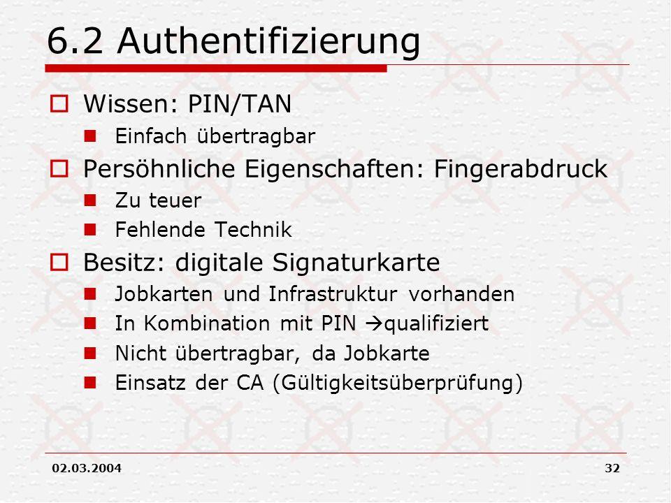 02.03.200432 6.2 Authentifizierung Wissen: PIN/TAN Einfach übertragbar Persöhnliche Eigenschaften: Fingerabdruck Zu teuer Fehlende Technik Besitz: dig