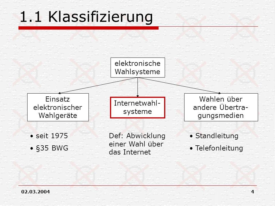 02.03.20044 1.1 Klassifizierung elektronische Wahlsysteme Einsatz elektronischer Wahlgeräte Internetwahl- systeme Wahlen über andere Übertra- gungsmed