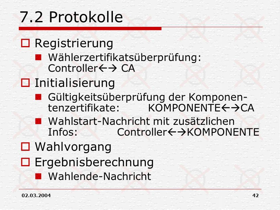 02.03.200442 7.2 Protokolle Registrierung Wählerzertifikatsüberprüfung: Controller CA Initialisierung Gültigkeitsüberprüfung der Komponen- tenzertifik
