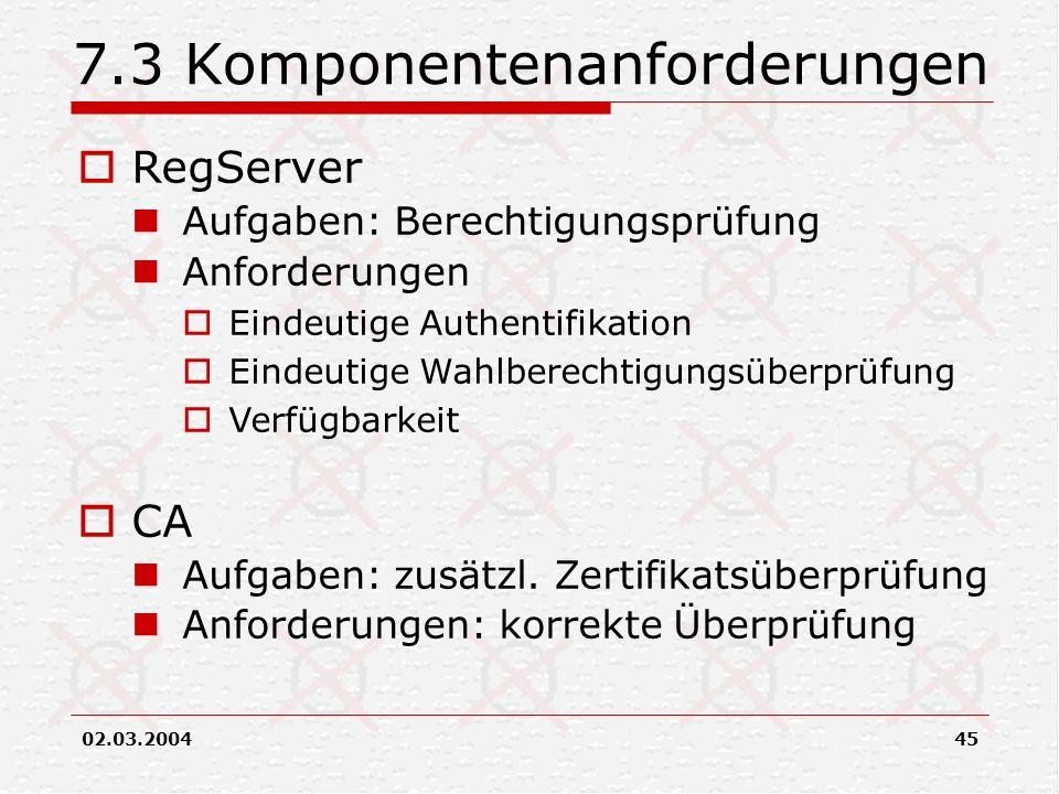 02.03.200445 7.3 Komponentenanforderungen RegServer Aufgaben: Berechtigungsprüfung Anforderungen Eindeutige Authentifikation Eindeutige Wahlberechtigu