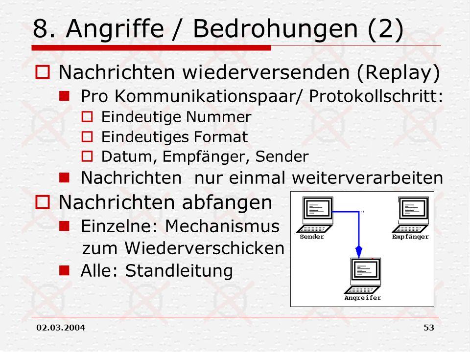 02.03.200453 8. Angriffe / Bedrohungen (2) Nachrichten wiederversenden (Replay) Pro Kommunikationspaar/ Protokollschritt: Eindeutige Nummer Eindeutige