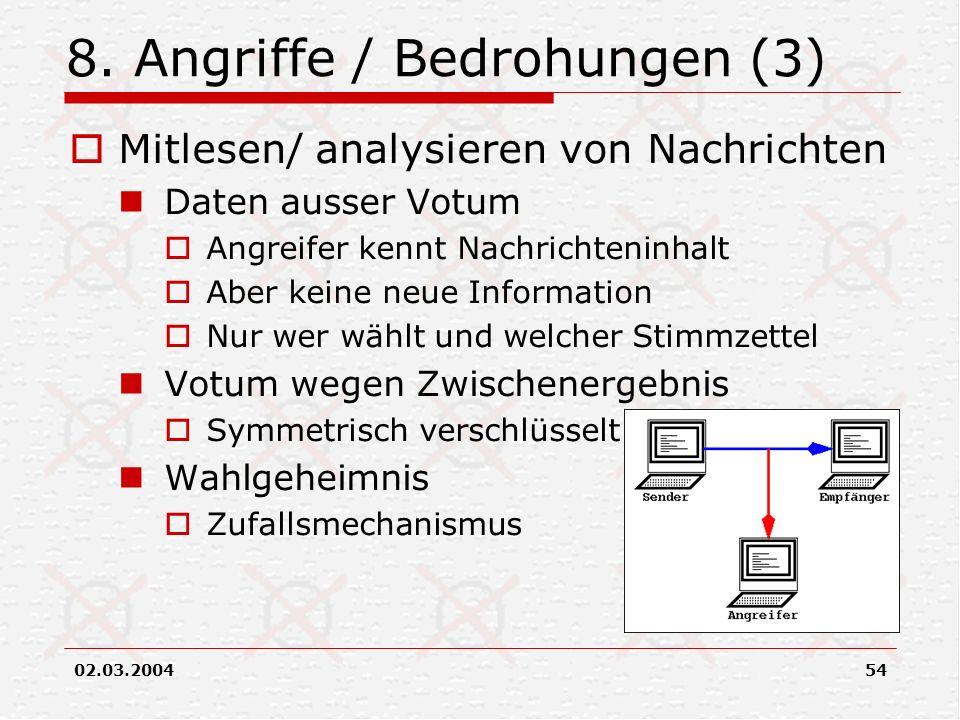 02.03.200454 8. Angriffe / Bedrohungen (3) Mitlesen/ analysieren von Nachrichten Daten ausser Votum Angreifer kennt Nachrichteninhalt Aber keine neue