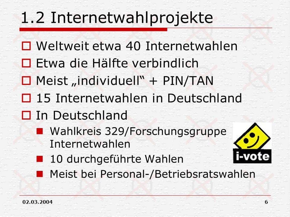 02.03.20046 1.2 Internetwahlprojekte Weltweit etwa 40 Internetwahlen Etwa die Hälfte verbindlich Meist individuell + PIN/TAN 15 Internetwahlen in Deut