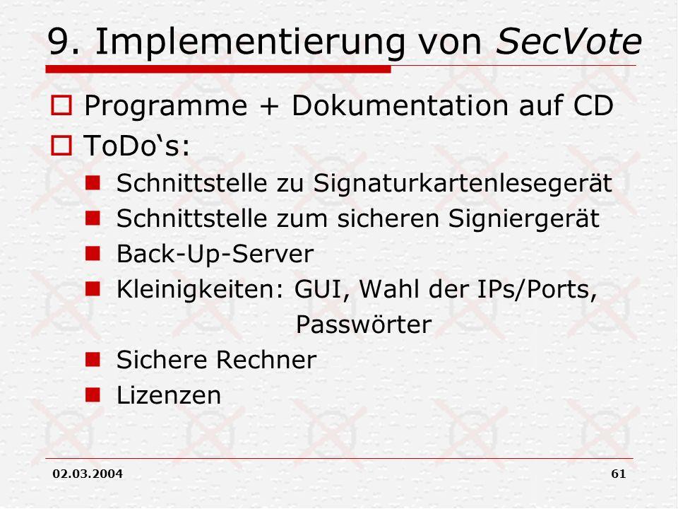 02.03.200461 9. Implementierung von SecVote Programme + Dokumentation auf CD ToDos: Schnittstelle zu Signaturkartenlesegerät Schnittstelle zum sichere