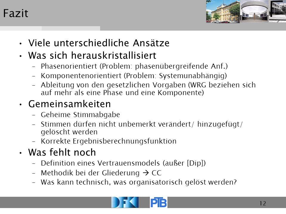 12Fazit Viele unterschiedliche Ansätze Was sich herauskristallisiert –Phasenorientiert (Problem: phasenübergreifende Anf.) –Komponentenorientiert (Pro