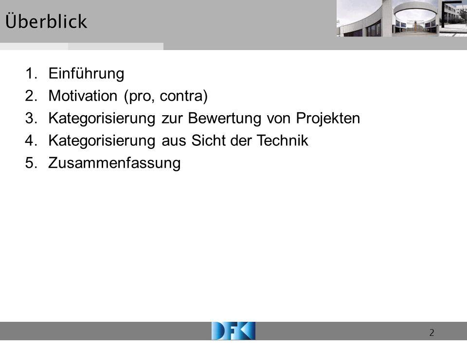 2Überblick 1.Einführung 2.Motivation (pro, contra) 3.Kategorisierung zur Bewertung von Projekten 4.Kategorisierung aus Sicht der Technik 5.Zusammenfas