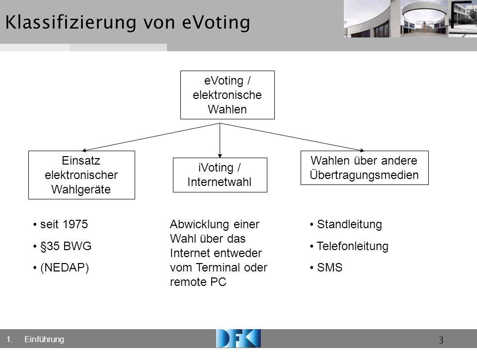 3 Klassifizierung von eVoting eVoting / elektronische Wahlen Einsatz elektronischer Wahlgeräte iVoting / Internetwahl Wahlen über andere Übertragungsm