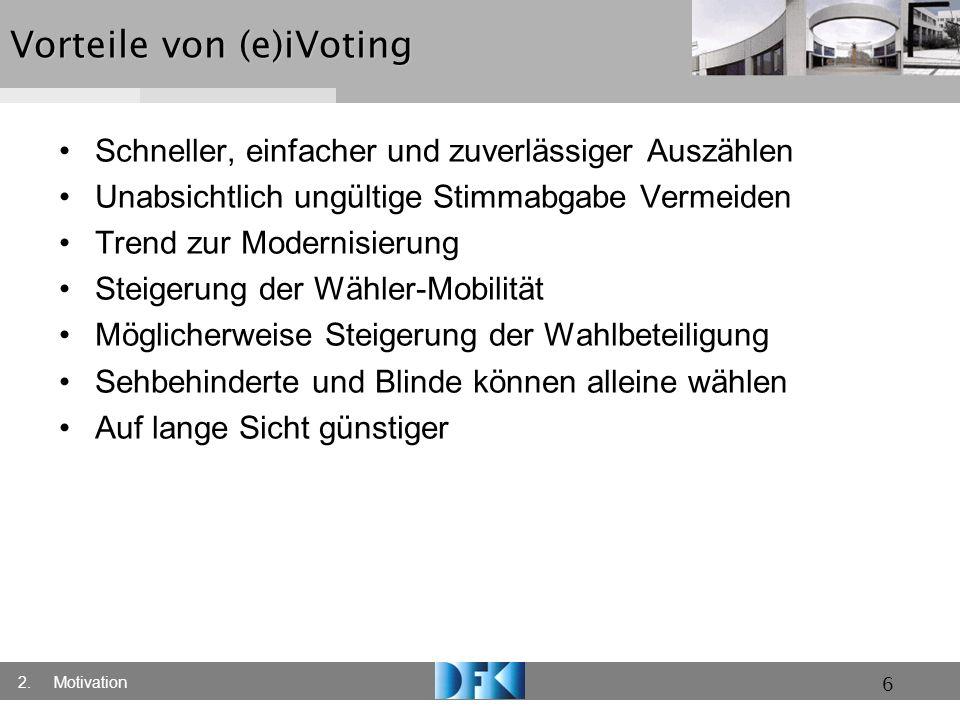 17Zusammenfassung Hauptbarriere gesetzlich Regelungen / Zertifizierung Remote Internetwahlen wesentlich attraktiver aber unsicherer Problem mit unbegrenzter geheimer Wahl Kategorisierung auf nationaler Ebene und Projektebene