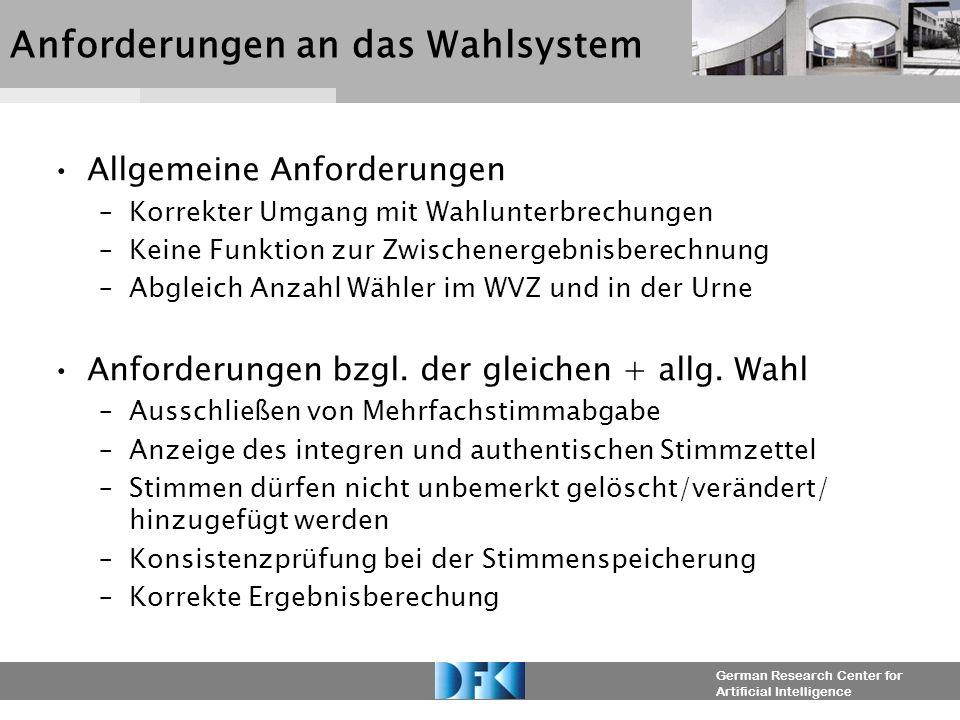German Research Center for Artificial Intelligence Anforderungen an das Wahlsystem Allgemeine Anforderungen –Korrekter Umgang mit Wahlunterbrechungen