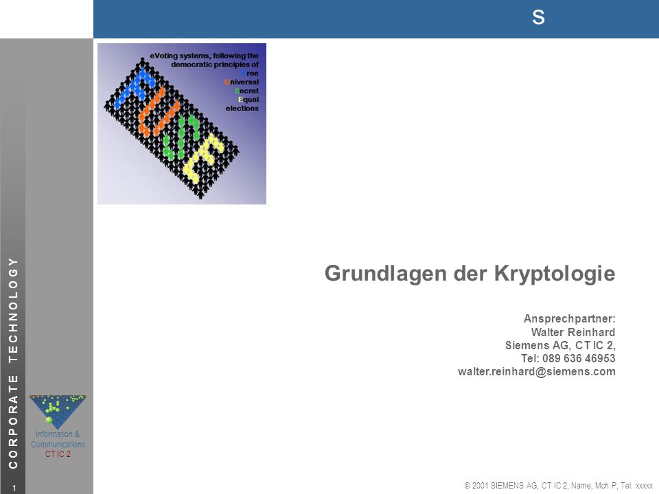 s © 2001 SIEMENS AG, CT IC 2, Name, Mch P, Tel. xxxxx Information & Communications CT IC 2 C O R P O R A T E T E C H N O L O G Y 1 Grundlagen der Kryp