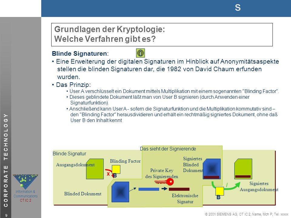 s © 2001 SIEMENS AG, CT IC 2, Name, Mch P, Tel. xxxxx Information & Communications CT IC 2 C O R P O R A T E T E C H N O L O G Y 9 Grundlagen der Kryp