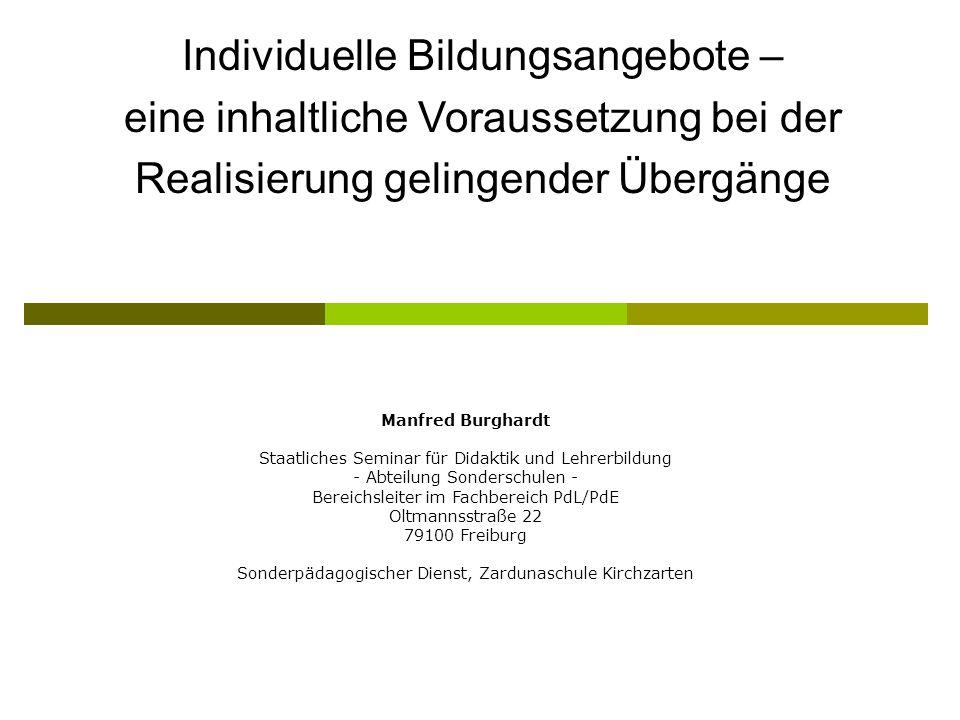 Individuelle Bildungsangebote – eine inhaltliche Voraussetzung bei der Realisierung gelingender Übergänge Manfred Burghardt Staatliches Seminar für Di