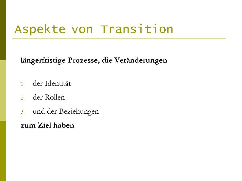 Aspekte von Transition längerfristige Prozesse, die Veränderungen 1. der Identität 2. der Rollen 3. und der Beziehungen zum Ziel haben