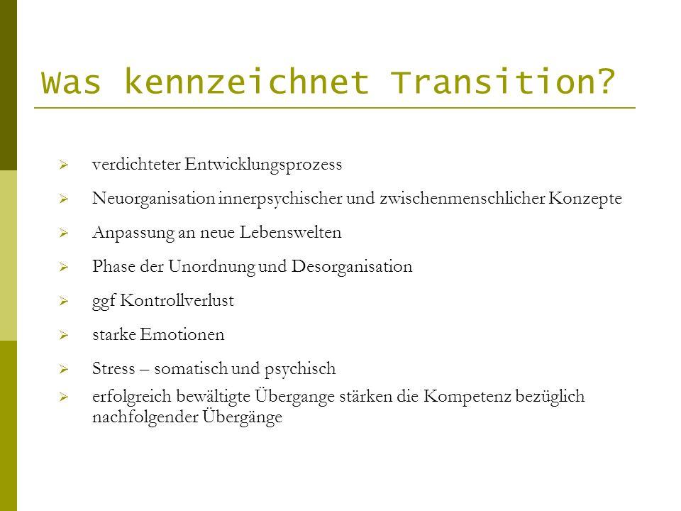 Was kennzeichnet Transition? verdichteter Entwicklungsprozess Neuorganisation innerpsychischer und zwischenmenschlicher Konzepte Anpassung an neue Leb