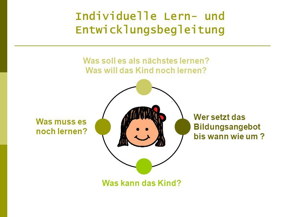 Individuelle Lern- und Entwicklungsbegleitung Was soll es als nächstes lernen? Was will das Kind noch lernen? Was muss es noch lernen? Was kann das Ki